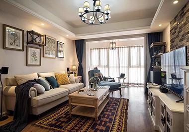 衡阳名郡120㎡ 三室两厅美式风格装修效果图