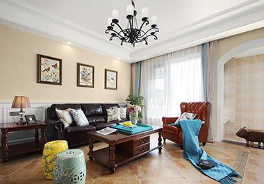 衡阳香江水岸新城123㎡ 三室两厅美式风格装修效果图