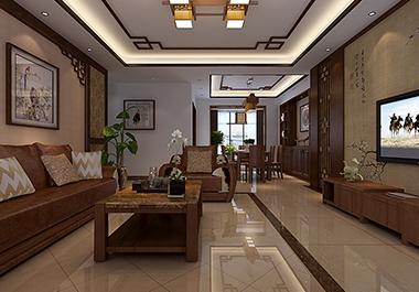 衡阳星美新外滩120㎡ 三室两厅新中式风格装修效果图