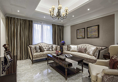 衡阳俊景花苑120㎡ 三室两厅美式风格装修效果图